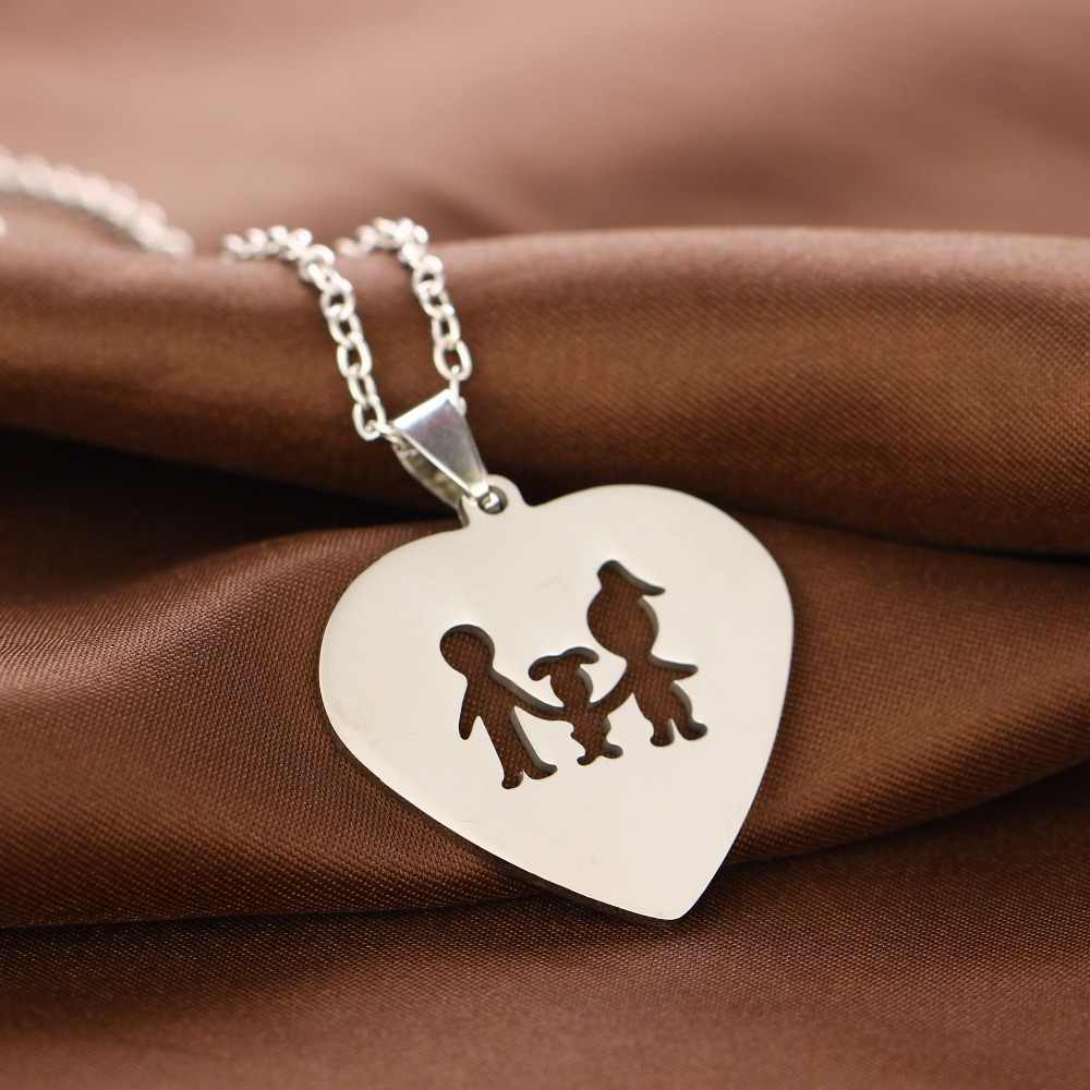 Trailer Family Chain Stainless Steel Pendant Necklace Parents And Children Necklaces Heart Silver Jewelry Gifts For Mom Dad New
