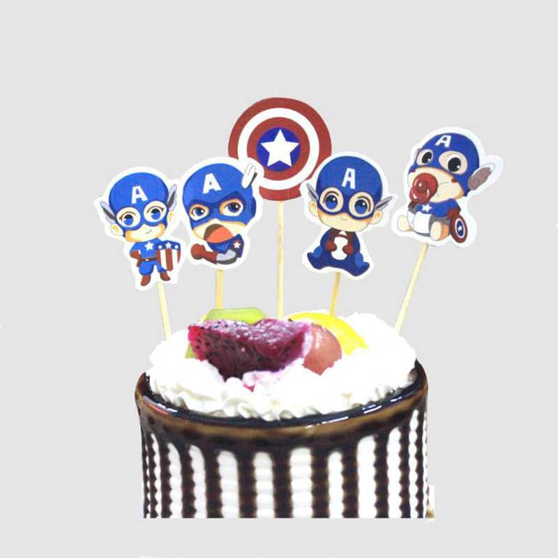 1 zestaw Cartoon Anime kapitan ameryka papieru Cupcake wykaszarki dla dzieci dla dzieci z okazji urodzin Party ciasto dekoracje świąteczne dostawy