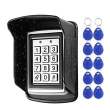 RFID металлическая клавиатура контроля доступа Водонепроницаемая непромокаемая крышка открытый Открыватель двери электронная система блокировки 10 шт. EM4100 брелки