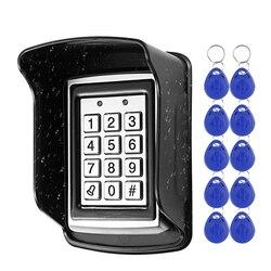 RFID In Metallo Tastiera di Controllo di Accesso Impermeabile Antipioggia Copertura Esterna Apriporta Serratura Elettronica Sistema di 10pcs EM4100 Portachiavi
