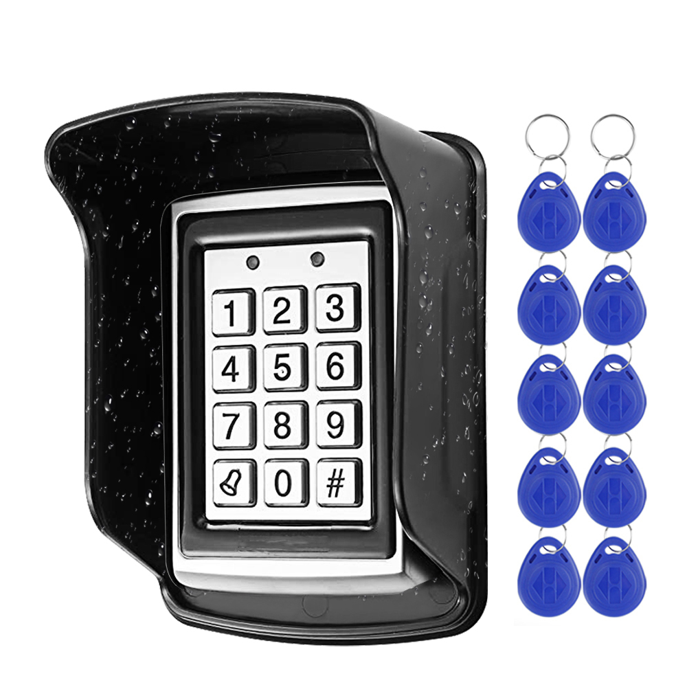 RFID Metal Access Control Keypad Waterproof Rainproof Cover Outdoor Door Opener Electronic Lock System 10pcs EM4100 Keychains