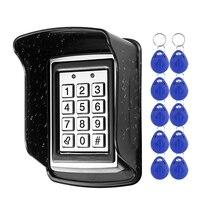 Teclado de Control de acceso de Metal RFID, cubierta impermeable a prueba de lluvia, abridor de puerta al aire libre, sistema de cerradura electrónica, llaveros EM4100 de 10 Uds.