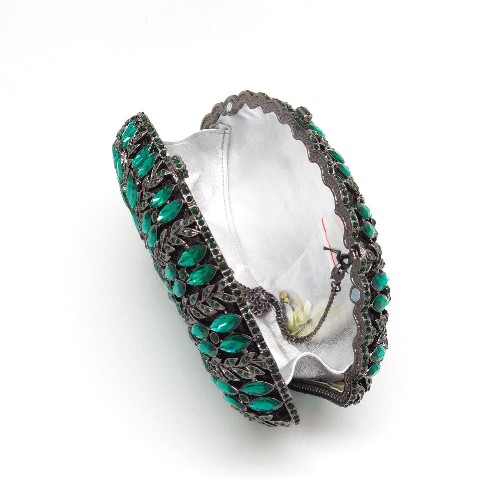 Bag Boutique Dames Fgg gold Floral Mariage Émeraude Vert Évider Partie À Sac Blue Cristal 3 green Main Sacs De Soirée Bag Femmes Diamant Bag D'embrayage ffqrSpn