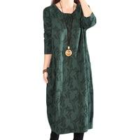 2018 Fashion Vestidos Ethnic Style Spring Autumn Women Casual Dress Long Sleeve Round Neck Cotton Linen Dress Plus Size XH099