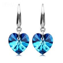 ФОТО fashion 925 sterling silver earrings high-grade blue crystal heart earrings women oriharcon ear jewelry nightclubs party