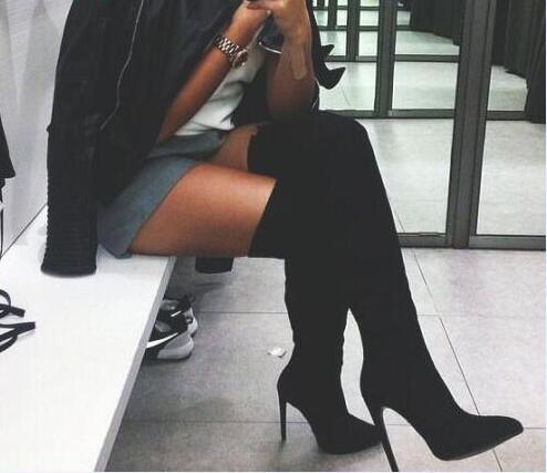 Picture Genou As Du Stretch Cuissardes En Bottes Talons Chaussures De Feminino Femme À dessus Picture as Noir Sapato Dames Hauts Cuir 2019 Bas SBwqFpnH