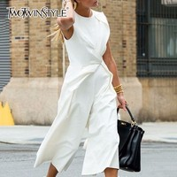 TWOTWINSTYLE Sleeveless Jumpsuits Female Patchwork Tunic High Waist Ankle Length Wide Leg Trousers 2018 Summer Tide