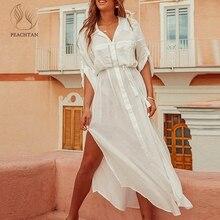 Peachtan Beyaz plaj cover up elbise Tunik uzun pareo bikini Kapak ups mayo Cover up Beachwear T shirt kadınlar için 2019 yeni