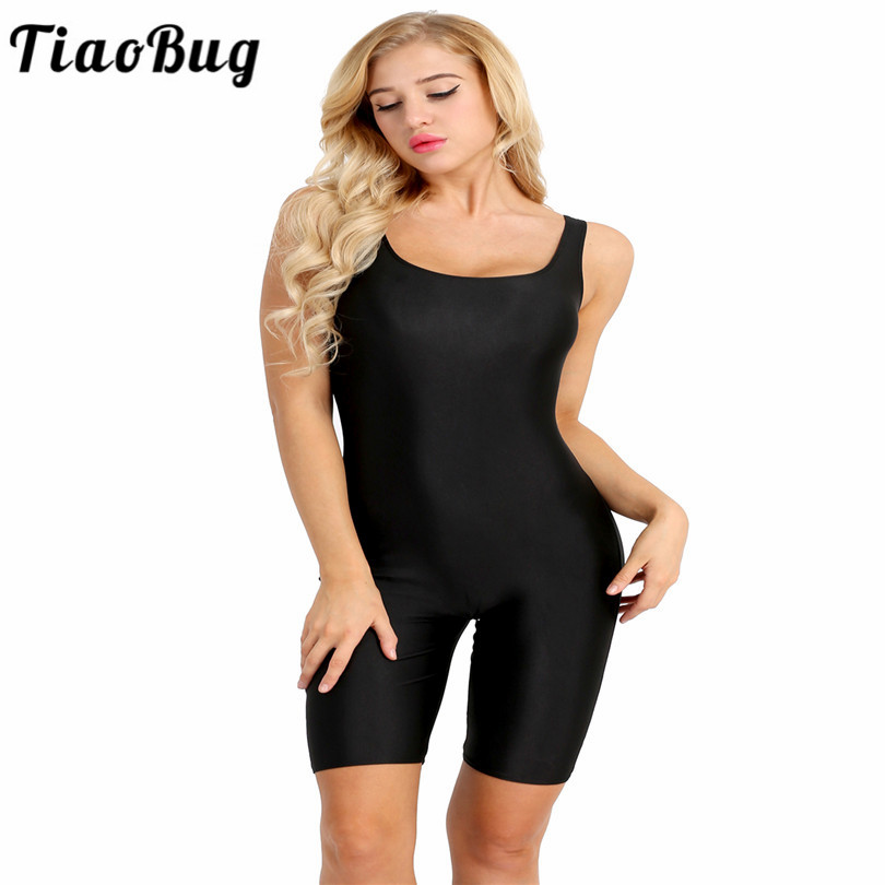 TiaoBug Sleeveless Stretchy Skinny Deep U Neck Women Exercise Active Dance Leotard  Women Soft Bodysuit Casual Jumpsuit