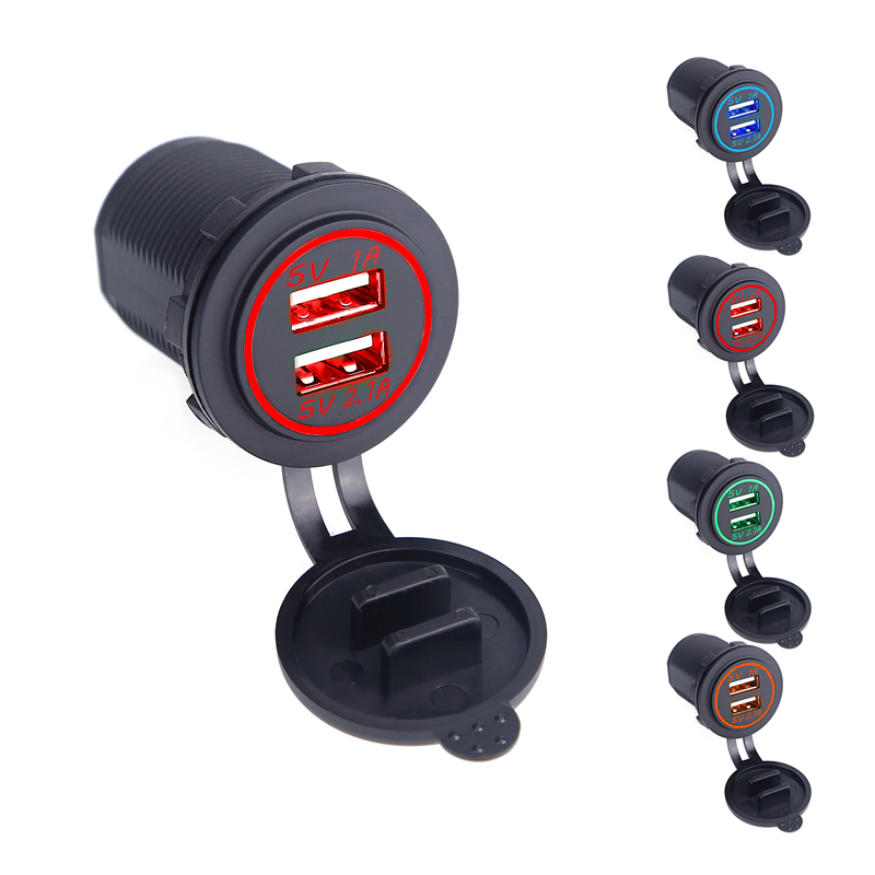 1 PC Universal Car Charger Waterproof Dual Port Auto Adapter 5V 2.1A Mobile