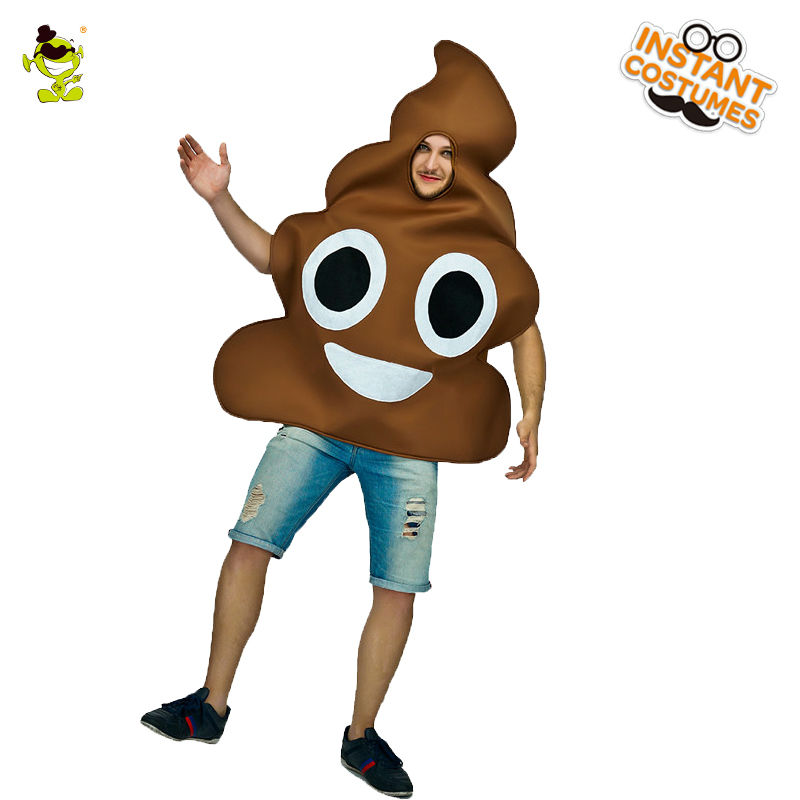 Mens Poop Emoji Costume Adult Poop Emoticon Jumpsuit For -4395