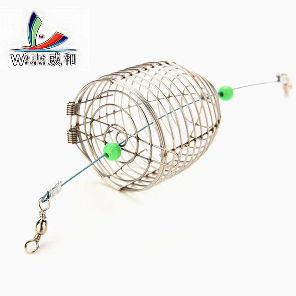 1Pcs 3 Kinds Size Stainless Steel Wire Trap Snare Pit Cage Small Fish Baits Round Basket Tray Fishing Tackle Tools For Fishing