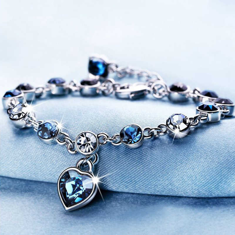 Women Silver Lucky Bracelet for Female Blue Crystal Heart Charm Bracelet Women Bridal Wedding Engagement Fine Jewelry Gift