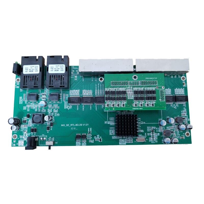 Image 2 - Обратное POE питание 10/100/1000 м гигабитный Ethernet коммутатор волоконно оптический одиночный режим 8 RJ45 и 2 SC волоконная материнская плата-in Сетевые коммутаторы from Компьютер и офис