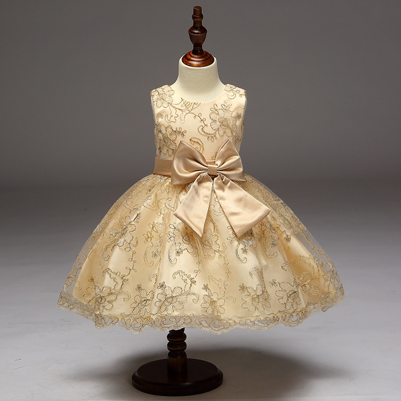2017 Fashion New Design High Quality Gold Thread Girl Princess Bow Dress Children Clothing Girl S