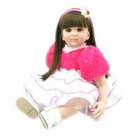 Оптовая 22 Дюймов Feborn Кукла Принцесса Девушка Куклы Мягкие Силиконовые Младенцы Девушки Lifelike Reborn Baby Doll Ручной Новорожденного Игрушка