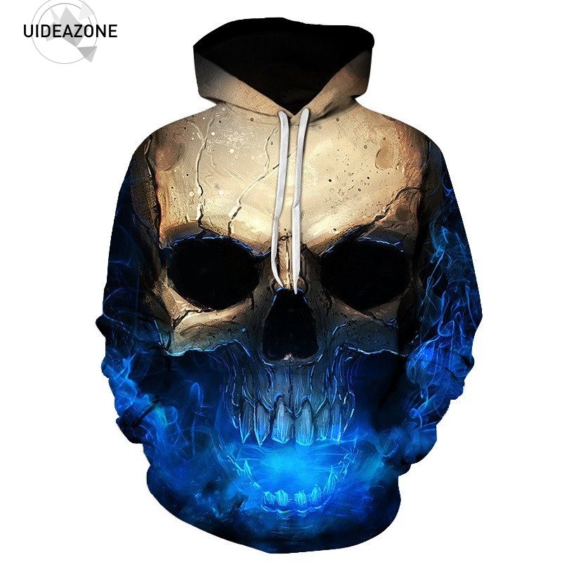 Eur Formato Hoodies Cranio Uomo Donna 2018 New Fashion Manica Lunga Primavera Autunno Grafica Hoody Top Casual 3D Felpa Con Cappuccio
