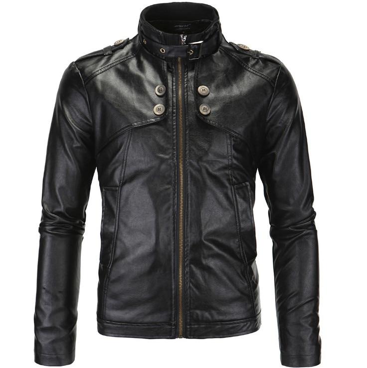 Mens Locomotive Leather Jackets British Style Leather Jacket Men Fashion Button Decoration Motorcycle Leather Jacket Male Coat