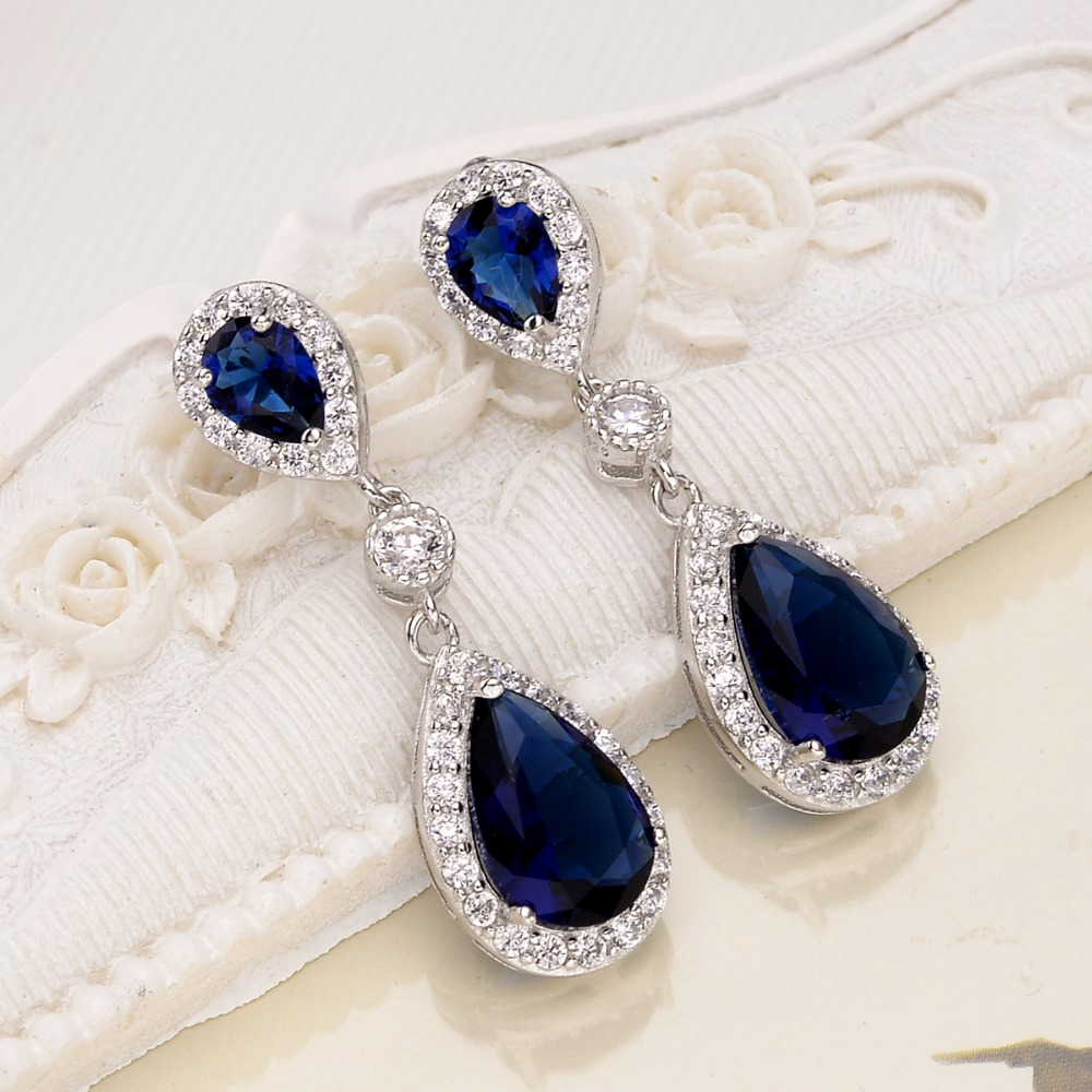 Bella Fashion 925 Sterling Silver Teardrop Bridal Earrings Cubic Zircon Wedding Earrings For Party Blue/Purple/Red/Pink/Green цены