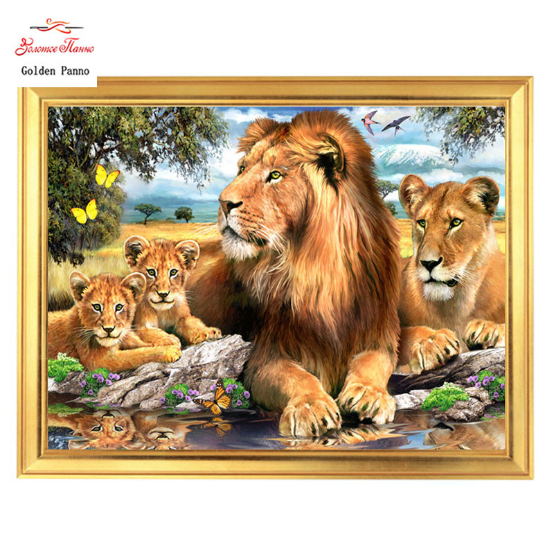 Counted Cross Stitch Kits Chart Needlework Crafts DIY Portrait of Lion