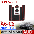 for Audi A6 2005-2011 C6 Anti-Slip Rubber Cup Cushion Door Mat 8pcs/set 2006 2007 2008 2009 2010 Accessories Car Styling Sticker