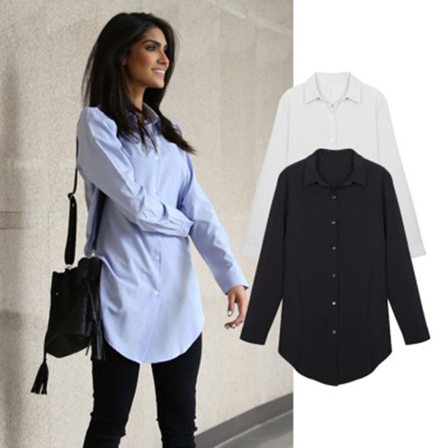 2016 summer new commuter wild female long-sleeved shirt collar white shirt big yards OL smooth blue coat