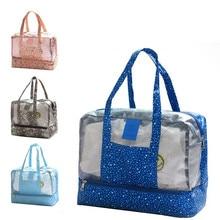 Women Nylon Wet and Dry Transparent Beach Bag Fema