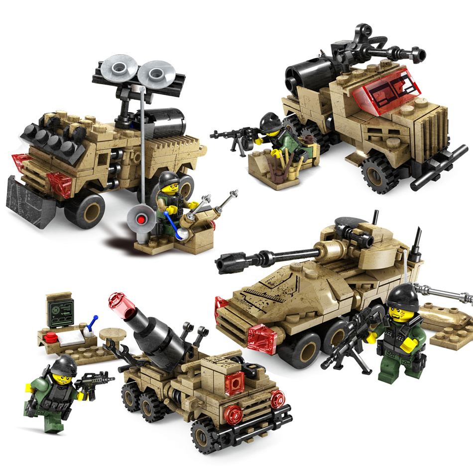 KAZI Toys 4in1 Tank Armored vehicles car Building Blocks Compatible Legoed Military soldier weapon war Bricks Toys For children