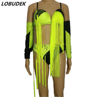 (top+cuff+shorts) sexy female nightclub bar DS costume Fluorescent yellow tassels tide stage dance wear singer party performance