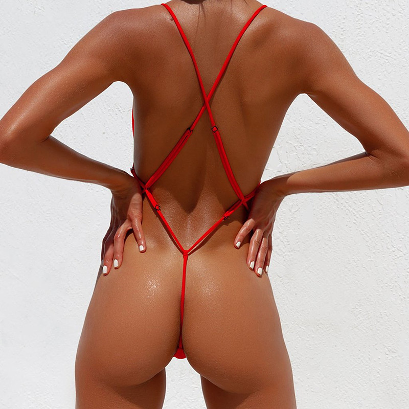 New 2019 One Piece Swimsuit Women G String Shiny Swimwear Female Micro Thong Monokini Bather Backless Bathing Suit Swim wear