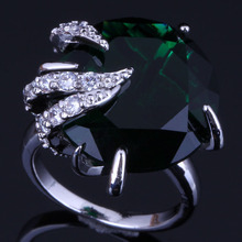Clean Round Green Cubic Zirconia White CZ 925 Sterling Silver Ring For Women V0555 925 sterling silver dragon claw round green cz eye mens biker skull ring 9m202a