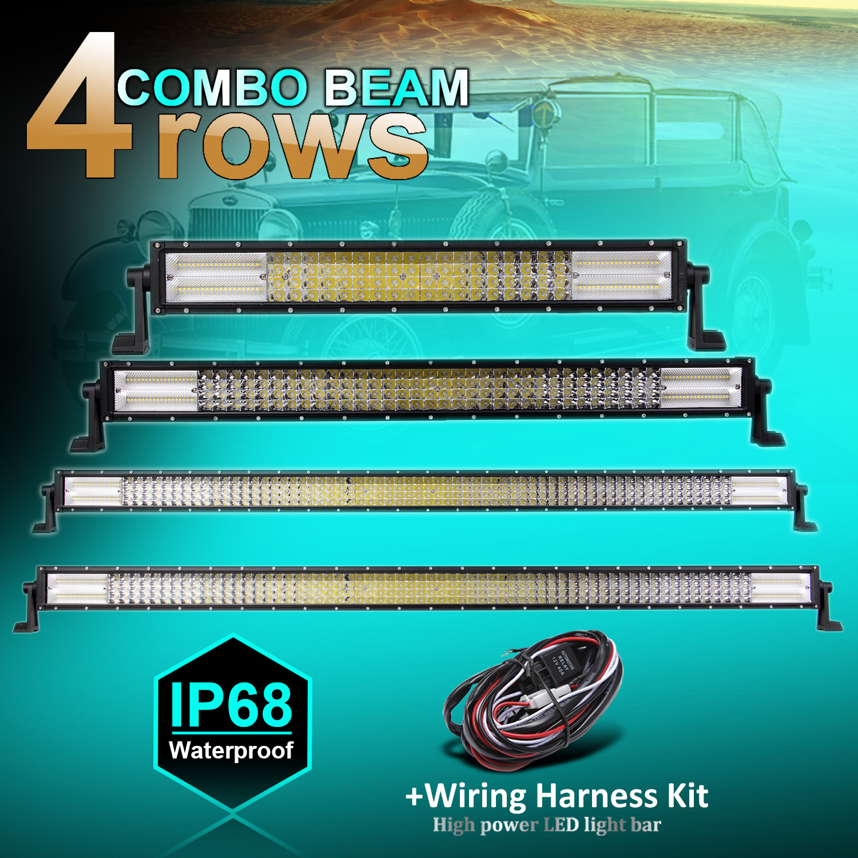 4-rows LED Work Light Spot Flood Combo LED Light Bar Driving Lamp 12V 24V Waterproof Automobile Universal+1X Wiring harness kit