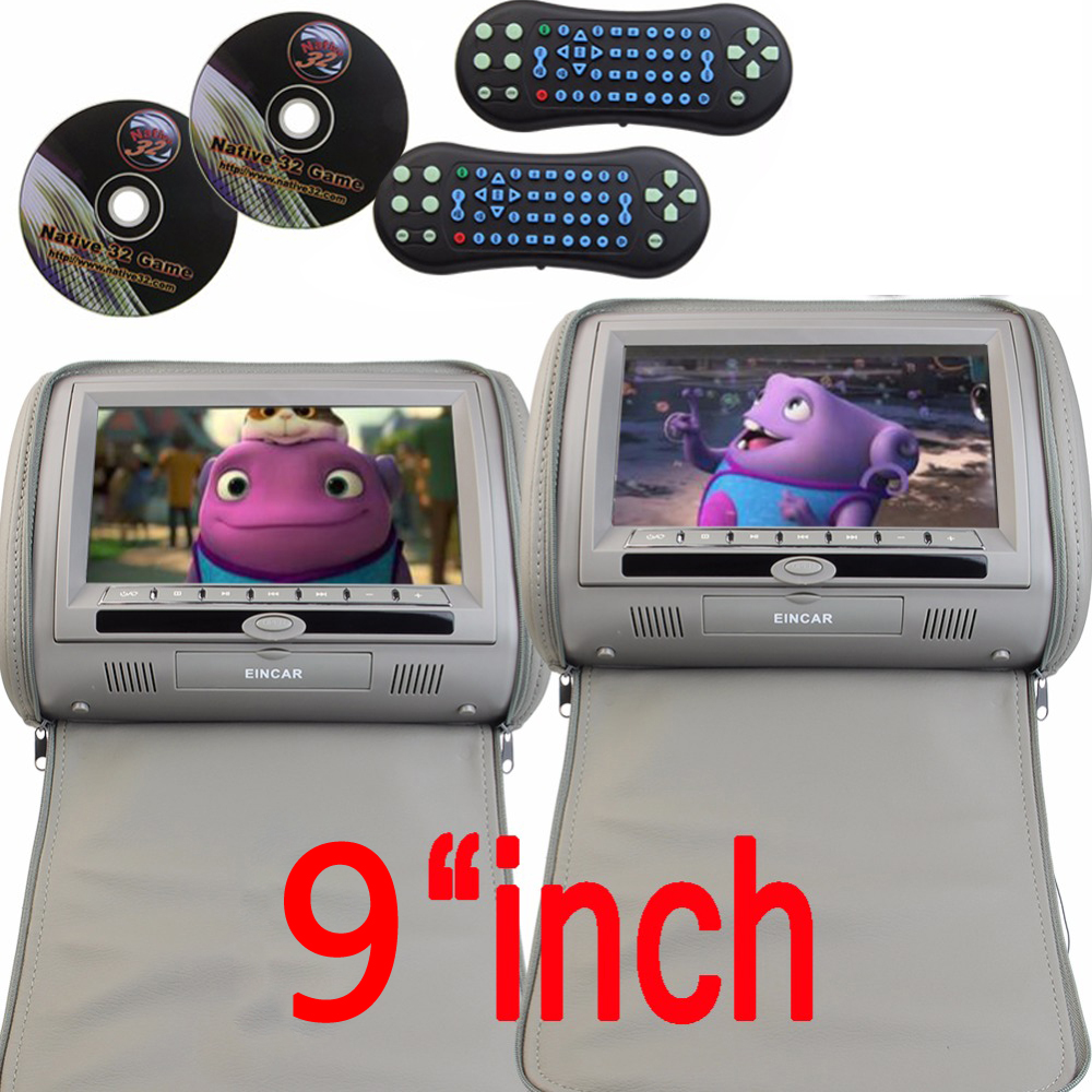 9 inch 2 Car Headrest DVD Player pillow Universal Digital Screen zipper Car Monitor USB FM CD SD TV Game two IR Remote control 2pcs lot digital tft screen zipper car pillow headrest cd dvd player monitor usb fm 32 bit game disc remote with 2xir headsets