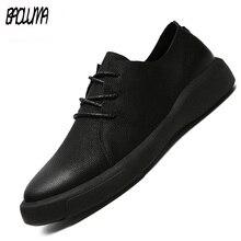 Мужские кожаные кроссовки на плоской подошве, лоферы из натуральной кожи на шнуровке, повседневная обувь для прогулок, большие размеры 37 47