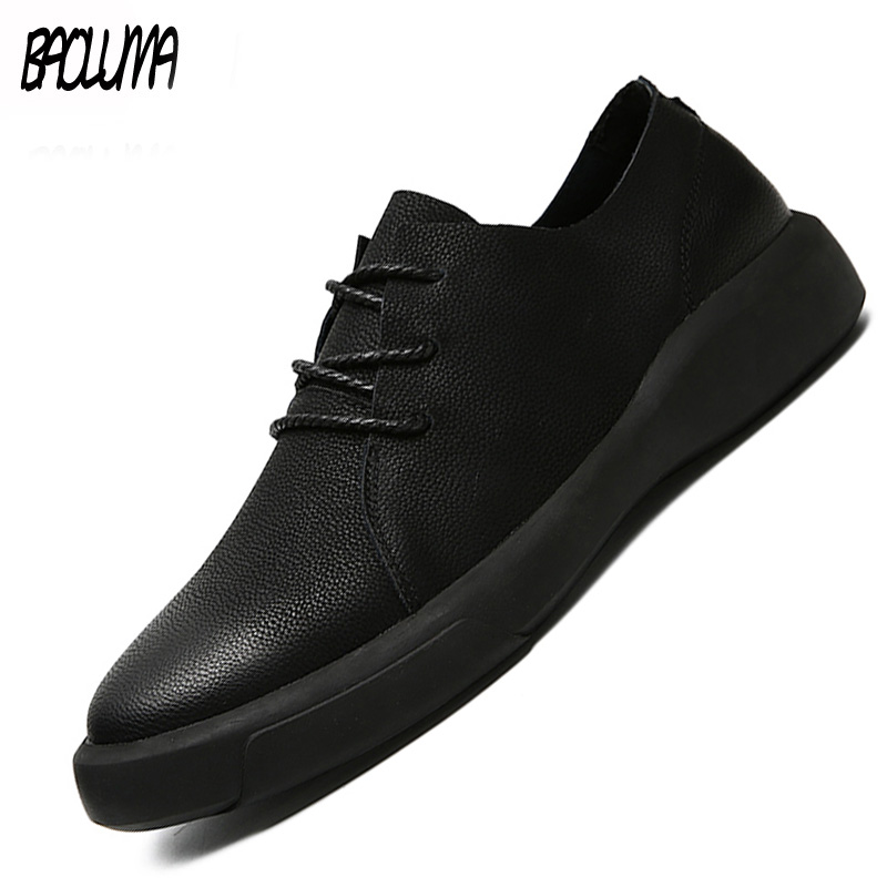 Genuine   Leather   Shoes Men   Leather   Sneakers Flats Design Style Men Shoes Loafers Lace Up Walking Casual Shoes Men Big Size 37-47
