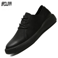 Genuine Leather Shoes Men Leather Sneakers Flats Design Style Men Shoes Loafers Lace Up Walking Casual Shoes Men Big Size 37 47