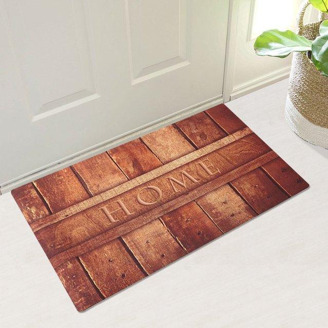 Rubber Indoor Doormat Rustic Entrance Welcome Mat Heavy Duty Low Profile  Front Door Mat Home Decor