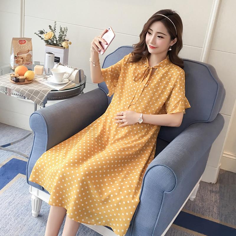 Polka Dot Maternity Clothes Formal 2018 Pregnancy Dress Dot Fashion Cotton Pregnancy Clothing Of Pregnant Women Premama