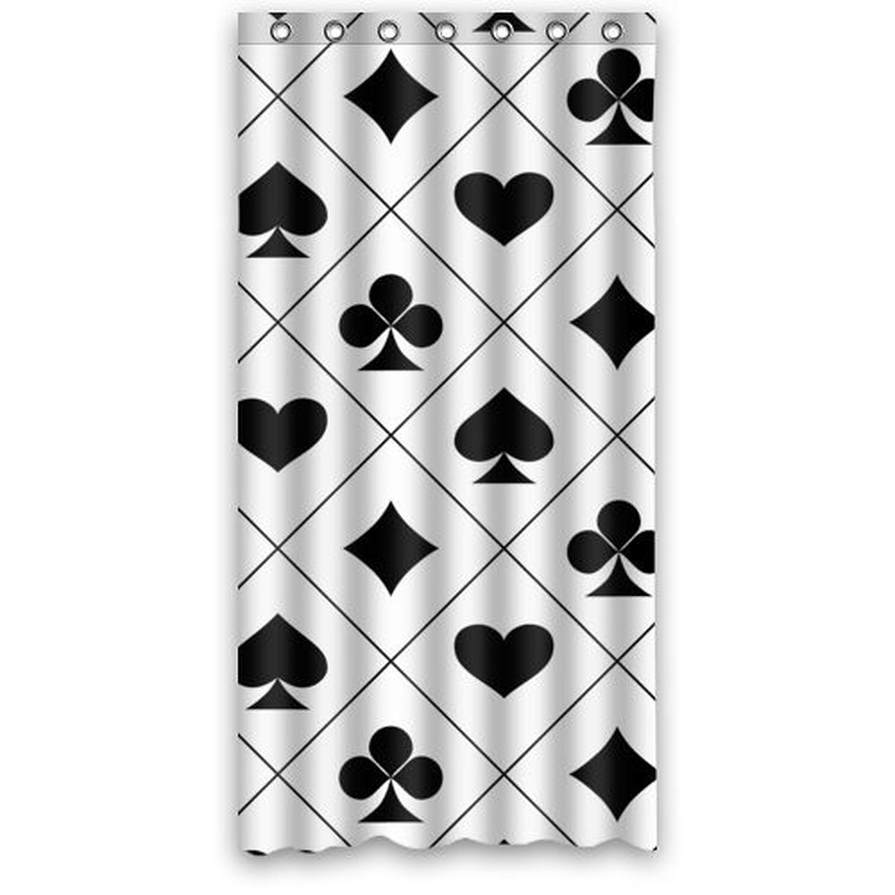 36wX72h inch Black and White Poker Card Art Pattern Shower Curtain Waterproof Bath Curtain Hook Attached