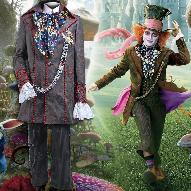 2017 Fashion Style Alice in Wonderland 2 Mad Hatter Cosplay Costume Adult Costumes Halloween Party Cosplay Costumes For Men
