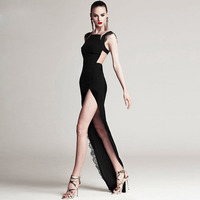 Women Slim Maxi Dress Black Sexy Club Long Dresses Bodysuit Placketing Patchwork Floor Length Pattern Dress
