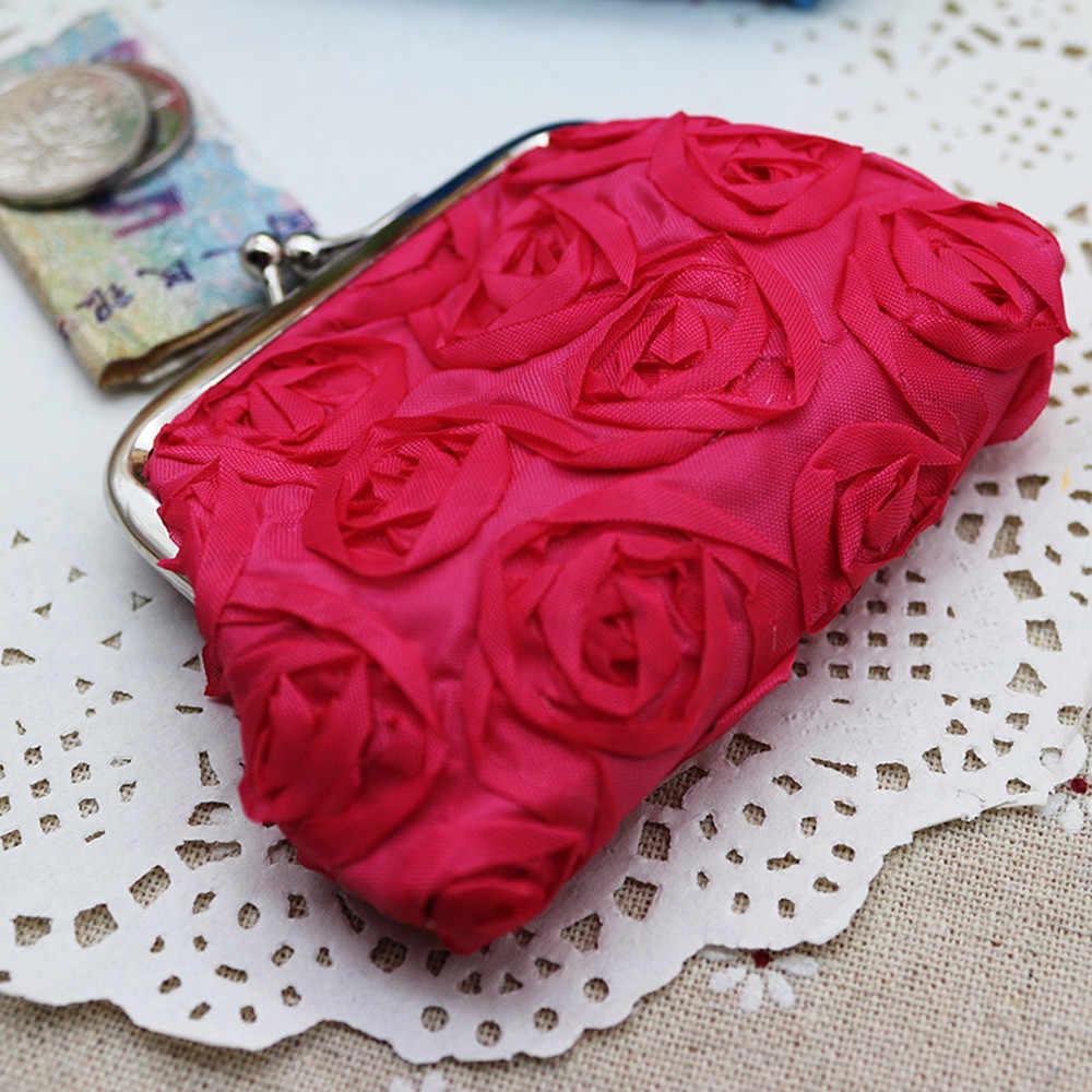 Xiniu Das Mulheres Flor Rosa Pequena Bolsa Da Moeda Da Carteira Da Embreagem Bolsa Bolsa cartera mujer kawaii # A3