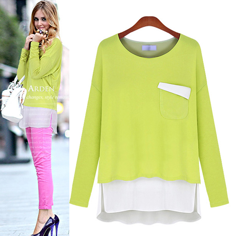 The new autumn outfit ebay speed sell hot style Europe and the United States big yards loose women long sleeve T-shirt color mat