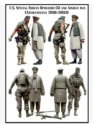 1/35 Scale Unpainted Resin Figure U.s. Special Force Operator And Afghan Old Man