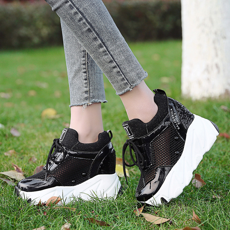Fashion Summer Breathable Women Height Increased Shoes Women High Platform Shoes 10CM Thick Sole Trainers Bling Sneakers Woman