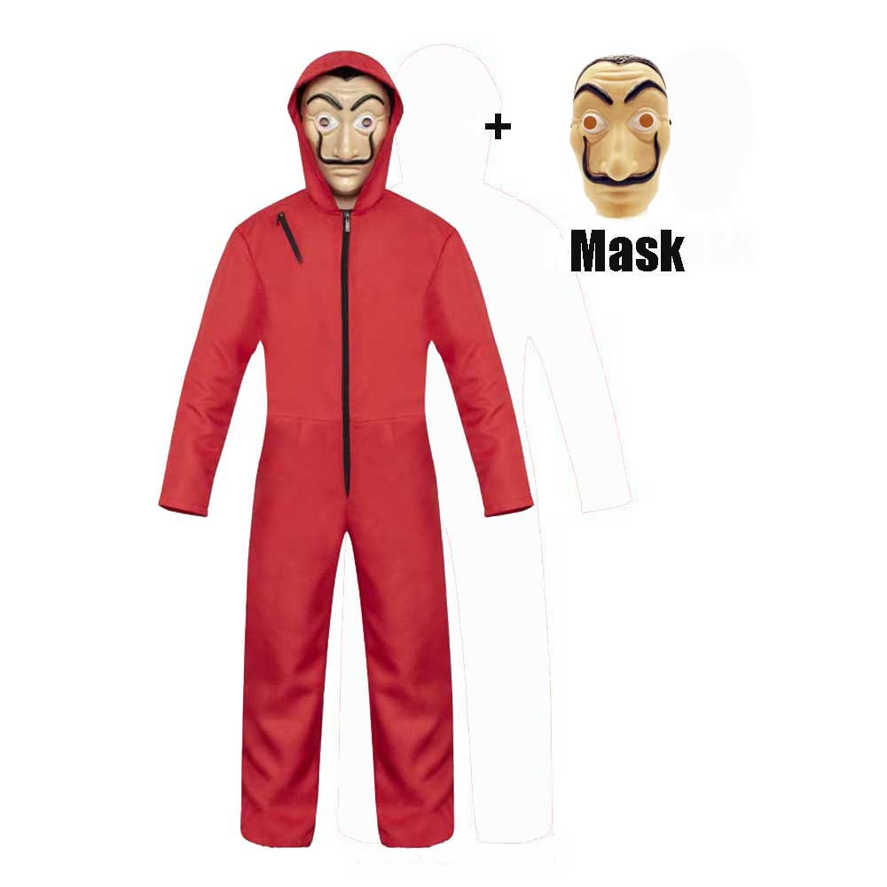 Adult Kids Money Heist The House of Paper La Casa De Papel Cosplay Salvador Dali Halloween Costumes Carnival For Children Men