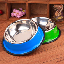 5pcs/lot 30cm XL Size Colorful Antiskid Stainless Steel Dogs Food Bowls Round Bowls For Cats Pets Supplies Send At Random