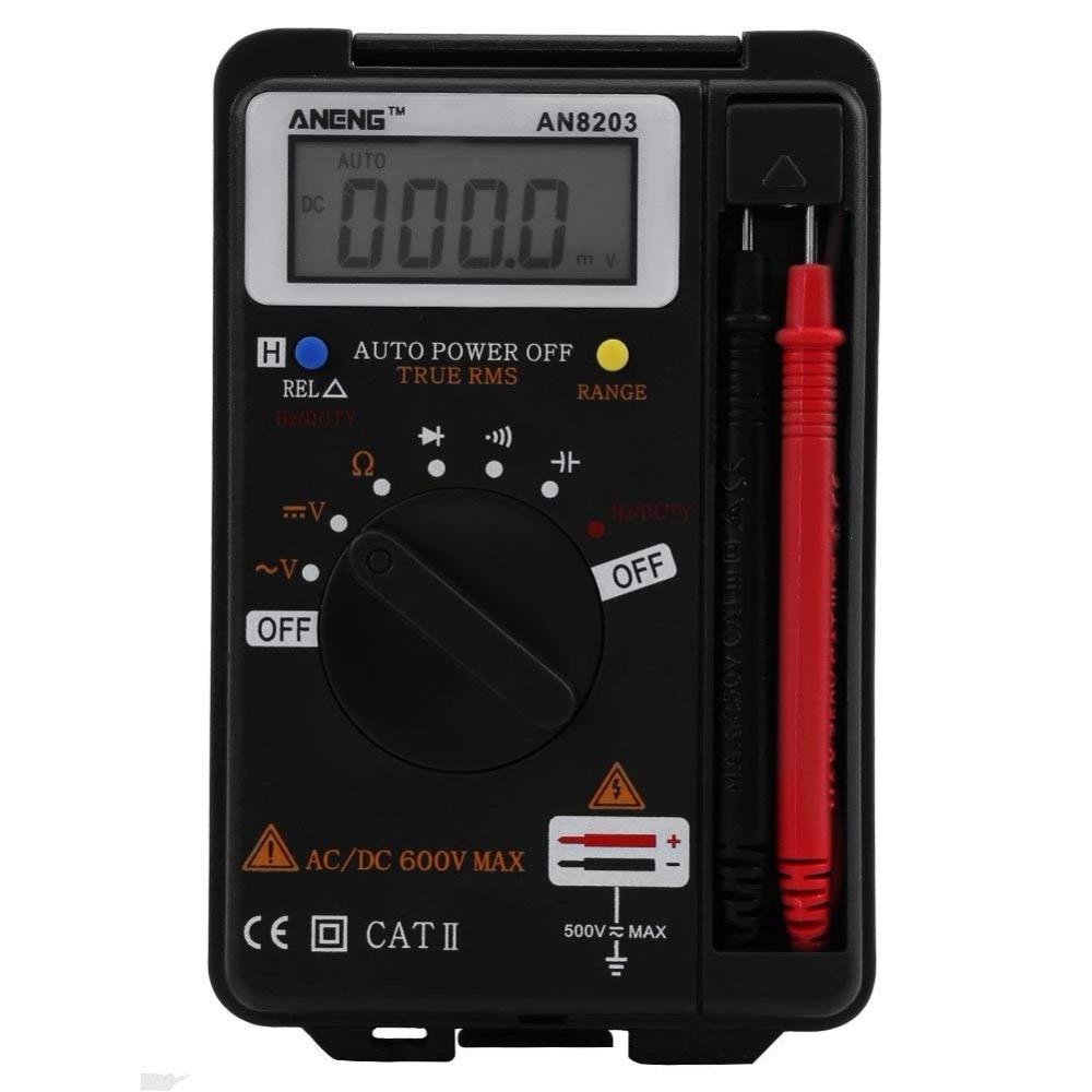 ANENG AN8203 4000 Contagens RMS Verdadeiro Mini Multímetro Digital Capacitância Freqüência de Resistência Tensão Tester com Multímetro Sondas