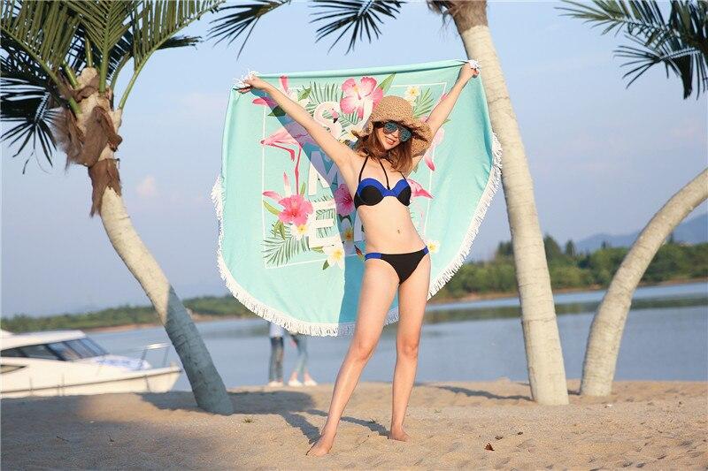 HTB1aQ7jSpXXXXchapXXq6xXFXXXw - Round Style Microfiber Beach Towel - Flamingo With Tassels Design