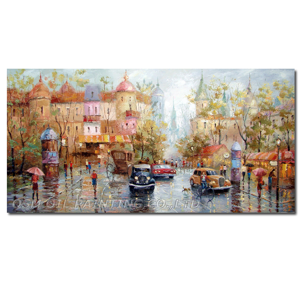 Hand Painted Knife Oil Painting on Canvas Painting Dmitry Spiros Russian Impression Picture Street Art for Living Room Decor